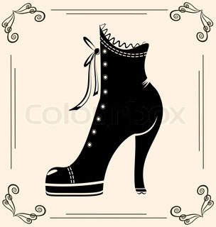 on vintage background is black outlines woman's boot