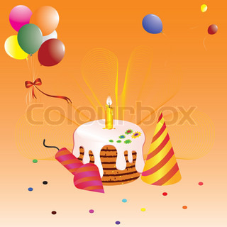 Birthday greeting card with a cake and balloons