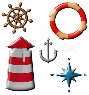Marine set - lighthouse, life preserver, anchor, wind rose