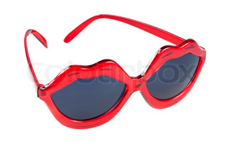 Sunglasses with red lip shaped frame Stock Photo Colourbox