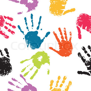 Print of hand of child, seamless cute teamwork pattern,vector grunge illustration
