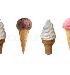 Assorted ice cream in sugar cones isolated on white background