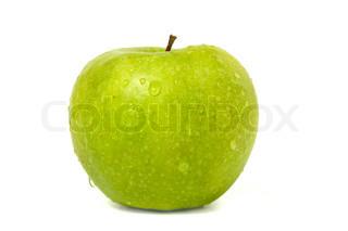 Green Apple dug dråber isoleret på hvid baggrund