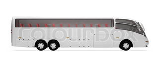 Isolated future bus front view over white background