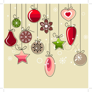 Christmas background with stylized contour decorations