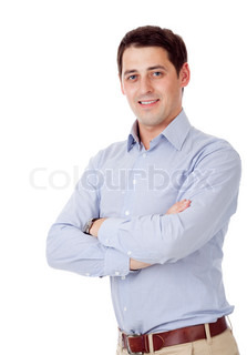 Young man isolated over white