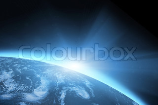 Planet earth with sunrise in the space