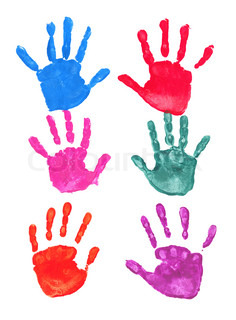 Colorful hand prints isolated on white background