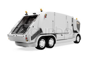 Isolated future trash truck front view over white background