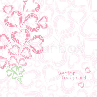 Valentine card with copy space Pink heart background Swirl vector illustration