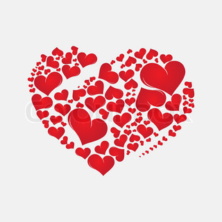 Abstract red heart Valentine Day love background,element for design, vector illustration