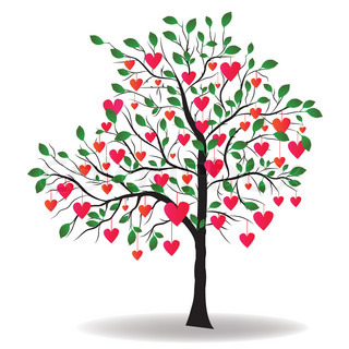 Valentine Day tree with leaf like heart Vector illustration