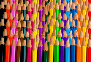 Background made of rows of bright color pencils