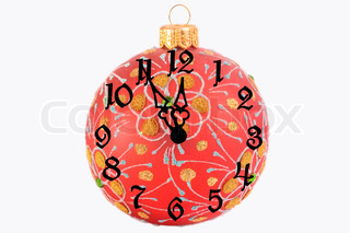 Red Christmas ball with a clock face showing almost twelve o'clock (isolated on white)