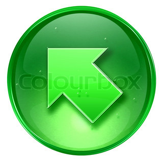 Arrow icon green, isolated on white background