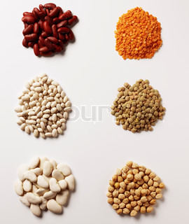 various legumes - beans, lentils and peas - on white background