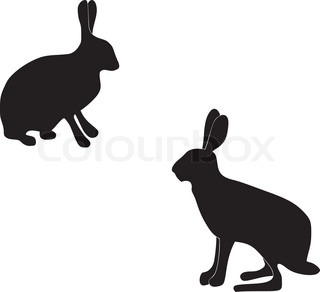 silhouettes of hares