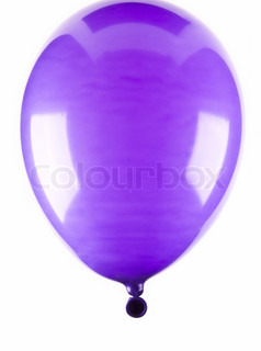 Vibrant purple balloon isolated on white background