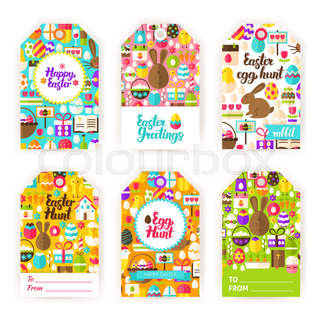 Happy easter gift tag template set flat vector illustration of happy easter gift tag labels negle Images