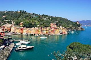 Aerial view on small town of Portofino on Ligurian Sea in Italy