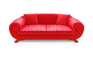 isolated red sofa on a white background