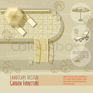 garden design lounge chairs bridge umbrella top view - Garden Furniture Top View