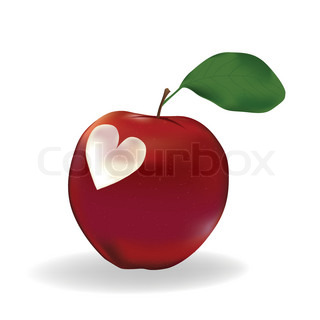 Apple with a heart isolated on white
