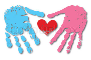 Print of hand and heart of man and woman couple, valentine cute love vector grunge illustration