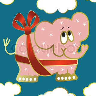 Seamless background with elephant, red ribbon, illustration