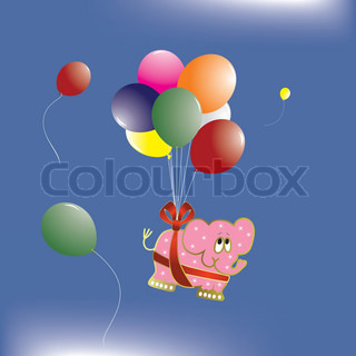 Elephant with balloons, illustration