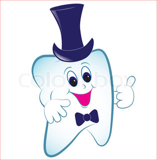 Happy cartoon tooth vector with thumb and hat
