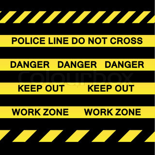 A variety of yellow caution tapes in vector format for construction and crime scene investigation concepts
