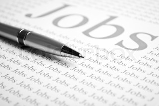 pen and a sheet of paper with text on job search