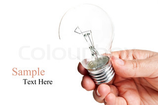 bulb in hand isolated on a white background