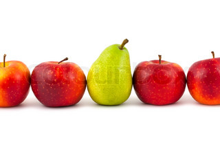 Line of fruits - pear and apples on white background