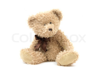 A teddy bear isolated against a white background