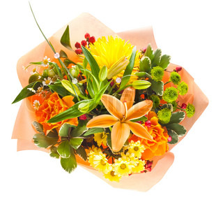 colorful bouquet of flowers isolated on white background