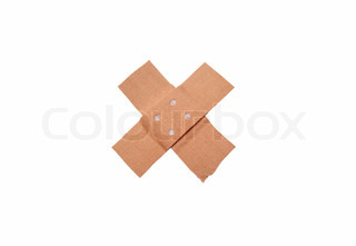 A bandaid isolated on white background, diagnoal alignment