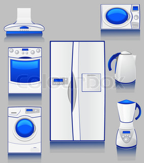 set of icons domestic technique for a kitchen
