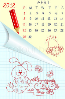Cute schoolbook style monthly calendar for april 2012
