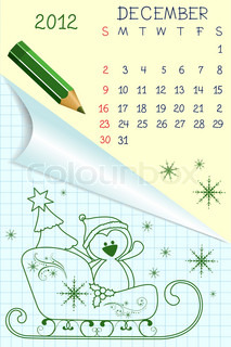 Cute schoolbook style monthly calendar for december 2012