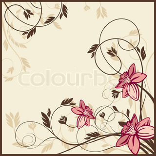 retro floral card, vector illustration