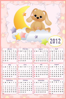 Baby's calendar for year 2012