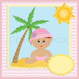 Blank template for baby's greetings card or postcard with coconut tree