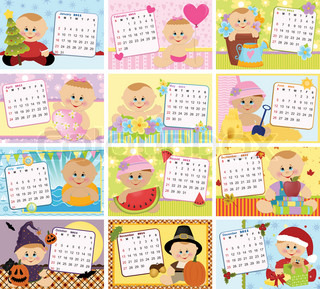 Baby's monthly calendar for year 2011