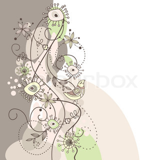 cute vector background with flowers and birds
