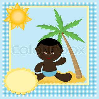 Blank skabelon til babys hilsner kort eller postkort med kokos træ