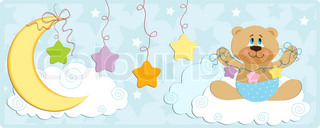 Baby's banner or postcard with bear in blue colors