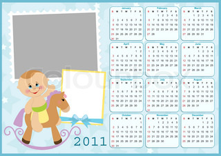 Baby's calendar for year 2011 with photo frames