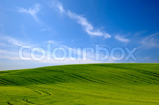 Green hill and blue and cloudy sky stock photo colourbox - Impressive house with tranquil environment to get total relaxation ...